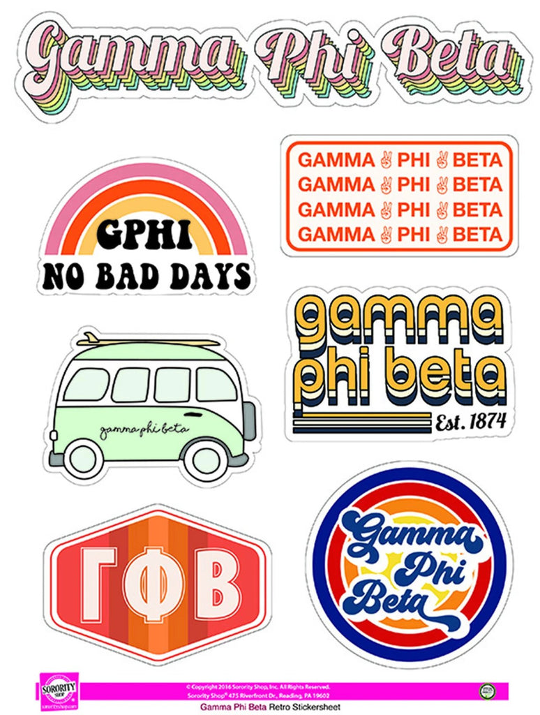Gamma Phi Beta Retro Sticker Sheet