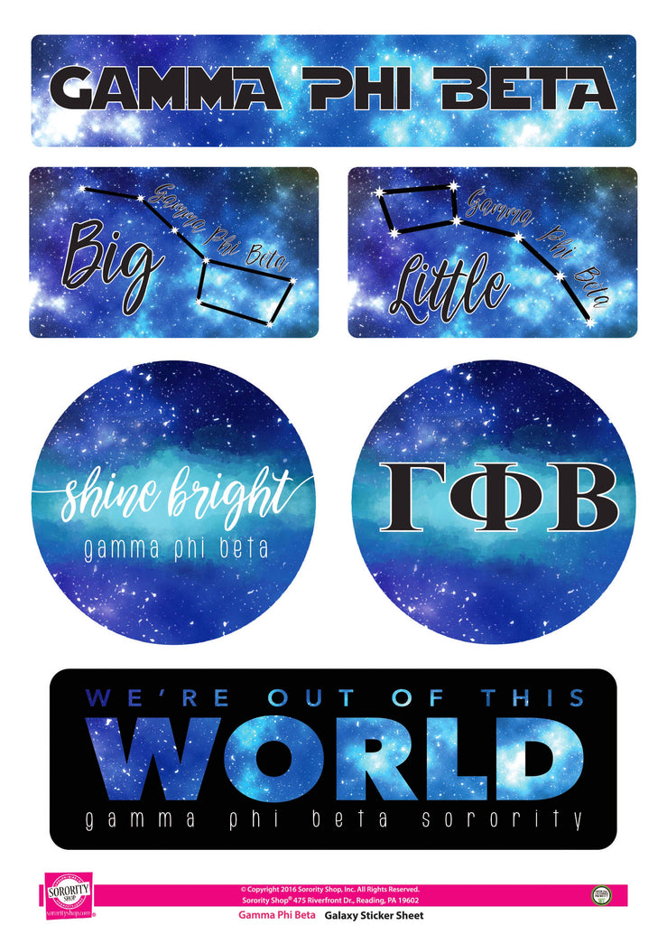 Gamma Phi Beta Galaxy Stickers