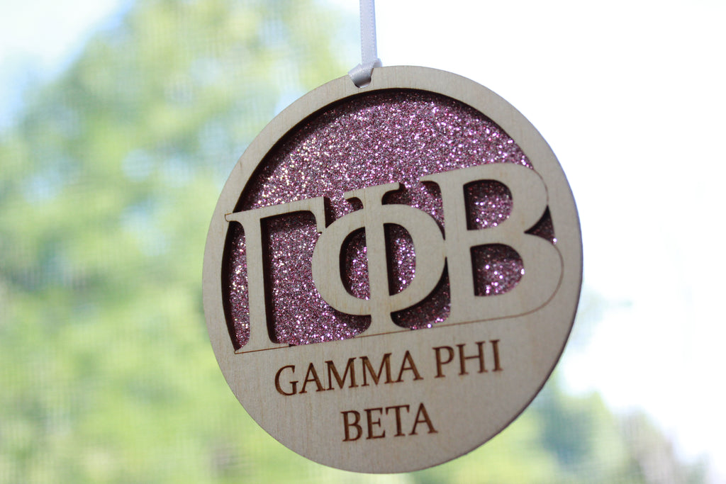 "Gamma Phi Beta - Laser Carved Greek Letter Ornament - 3"" Round"