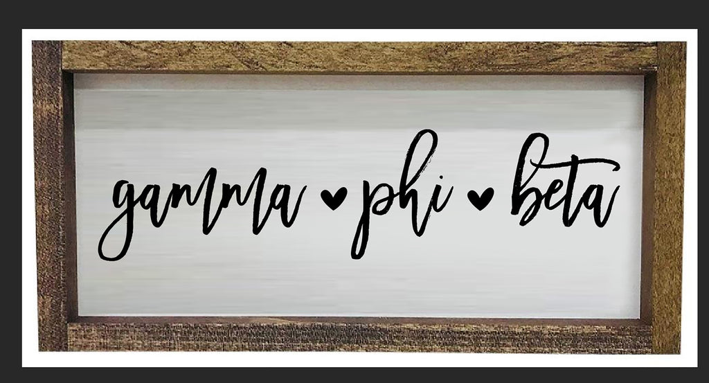 Gamma Phi Beta Script Wooden Sign