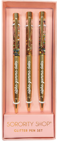 Alpha Gamma Delta Glitter Pens (Set of 3)
