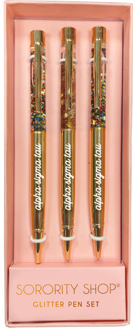 Alpha Sigma Tau Glitter Pens (Set of 3)
