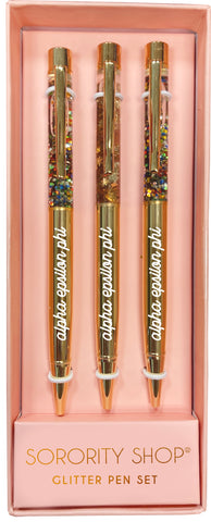 Alpha Epsilon Phi Glitter Pens (Set of 3)