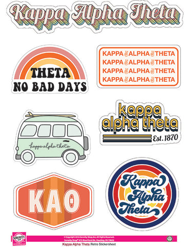 Kappa Alpha Theta Retro Sticker Sheet