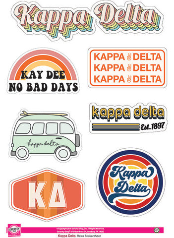 Kappa Delta Retro Sticker Sheet