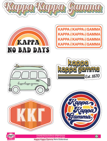 Kappa Kappa Gamma Retro Sticker Sheet