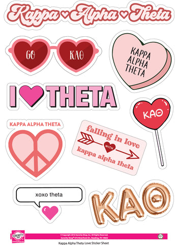 Kappa Alpha Theta- Sticker Sheet- Love Theme