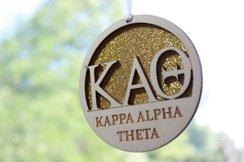 "Kappa Alpha Theta - Laser Carved Greek Letter Ornament - 3"" Round"