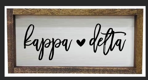 Kappa Delta Script Wooden Sign