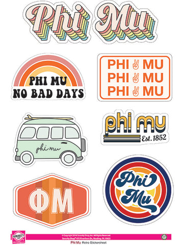 Phi Mu Retro Sticker Sheet