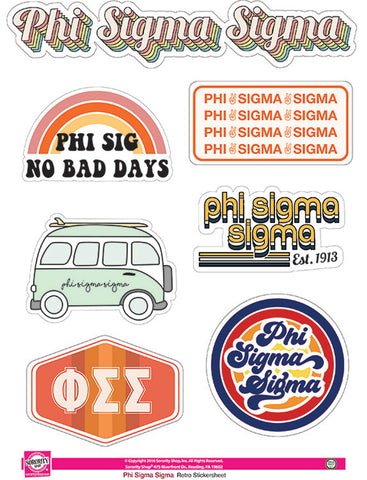 Phi Sigma Sigma Retro Sticker Sheet