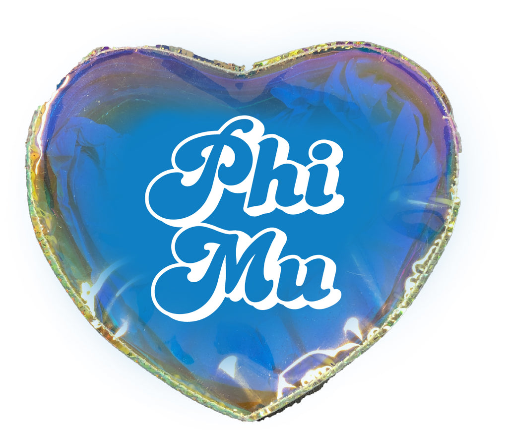 Phi Mu Heart Shaped Makeup Bag