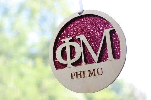 "Phi Mu - Laser Carved Greek Letter Ornament - 3"" Round"