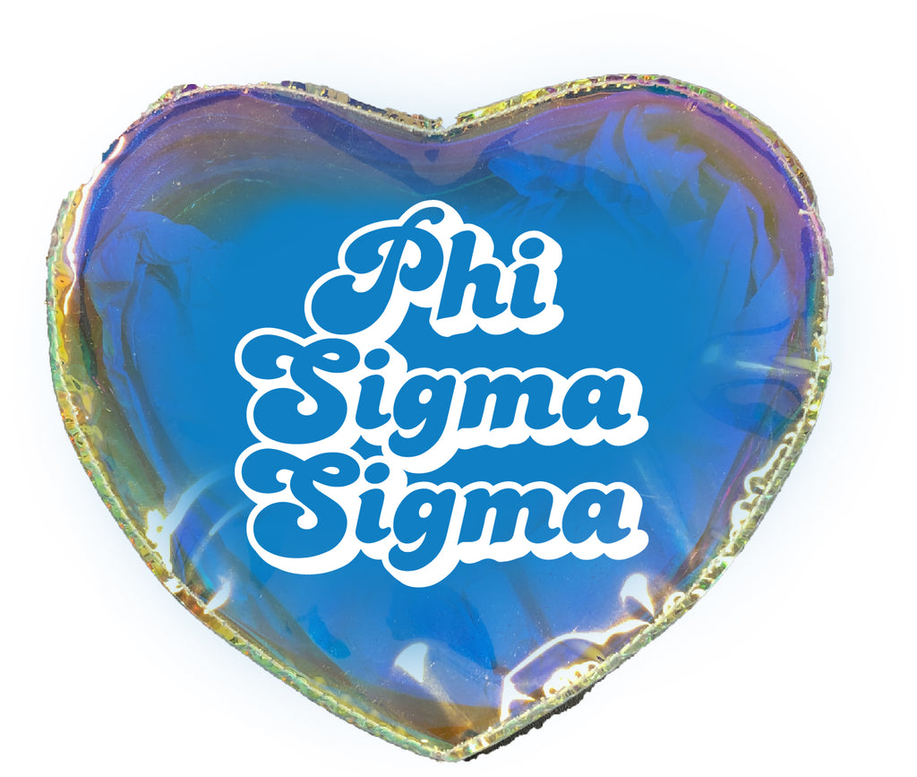 Phi Sigma Sigma Heart Shaped Makeup Bag