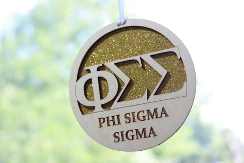 "Phi Sigma Sigma - Laser Carved Greek Letter Ornament - 3"" Round"
