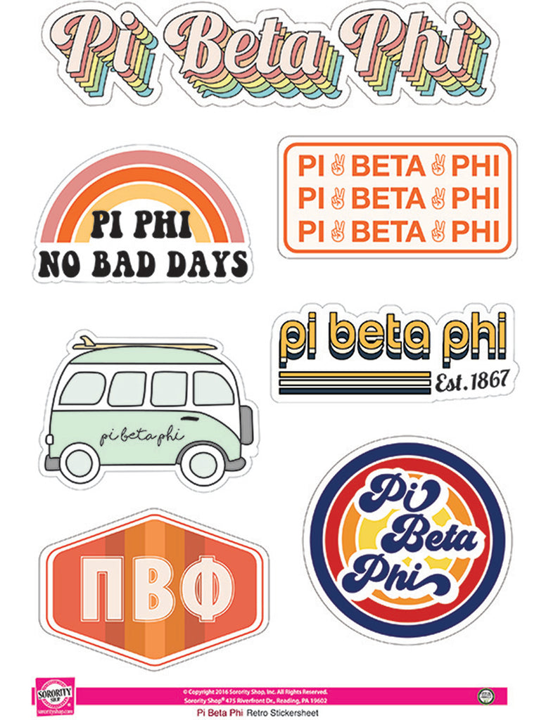 Pi Beta Phi Retro Sticker Sheet