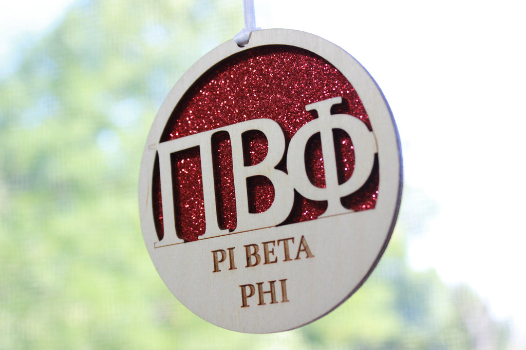 "Pi Beta Phi - Laser Carved Greek Letter Ornament - 3"" Round"