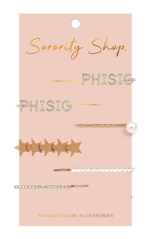 Phi Sigma Sigma Sorority Hair Clips