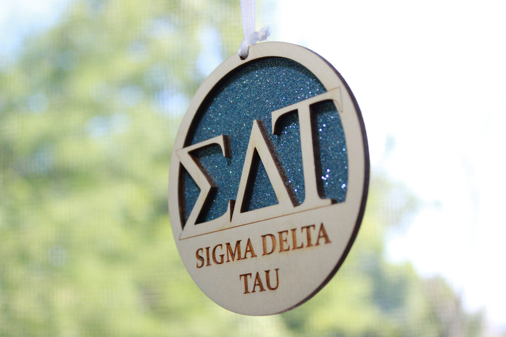 "Sigma Delta Tau - Laser Carved Greek Letter Ornament - 3"" Round"