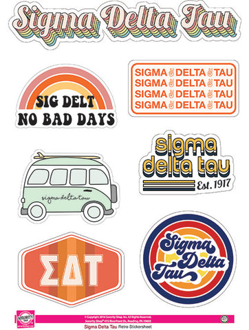 Sigma Delta Tau Retro Sticker Sheet