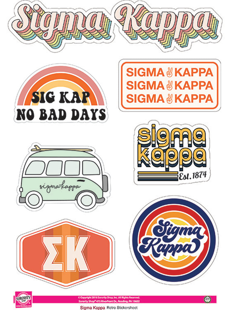 Sigma Kappa Retro Sticker Sheet