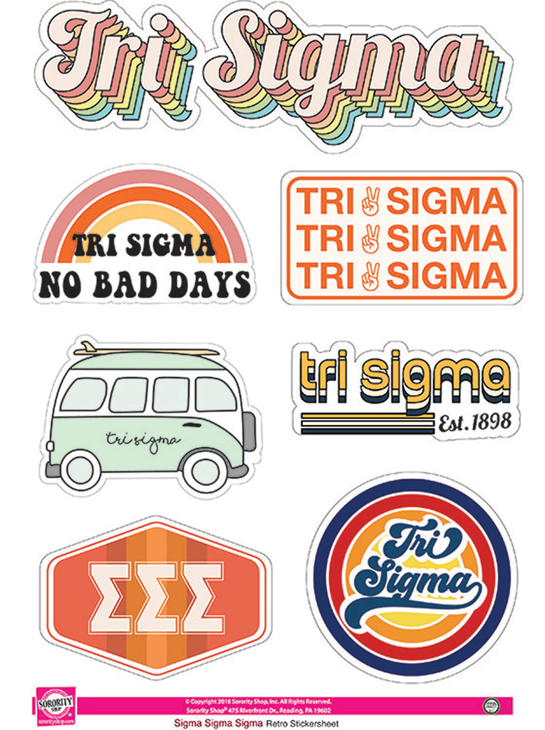 Sigma Sigma Sigma Retro Sticker Sheet