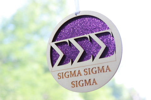 "Sigma Sigma Sigma - Laser Carved Greek Letter Ornament - 3"" Round"