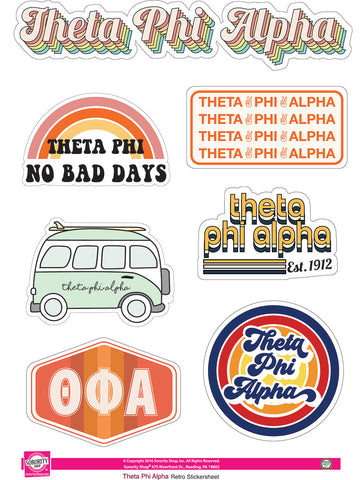 Theta Phi Alpha Retro Sticker Sheet