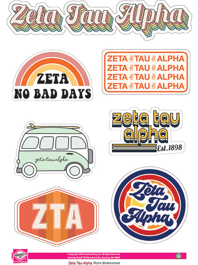 Zeta Tau Alpha Retro Sticker Sheet