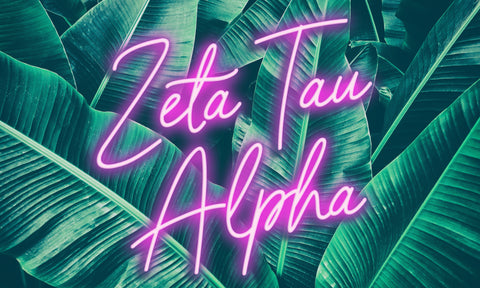 Zeta Tau Alpha Neon Palm Flag