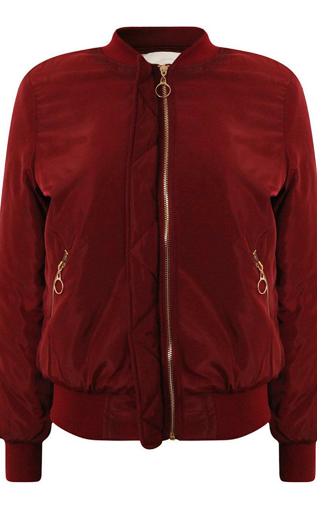 Jenna Red Lined Bomber Jacket - Violet Fashion