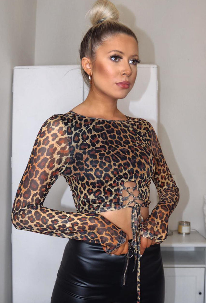 Leoni Leopard Print Mesh Crop Top - Violet Fashion