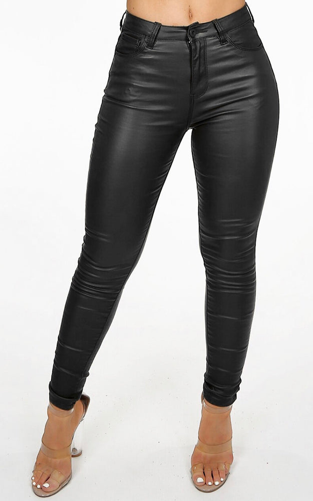 Lexi Black Faux Leather Jeans - Violet Fashion