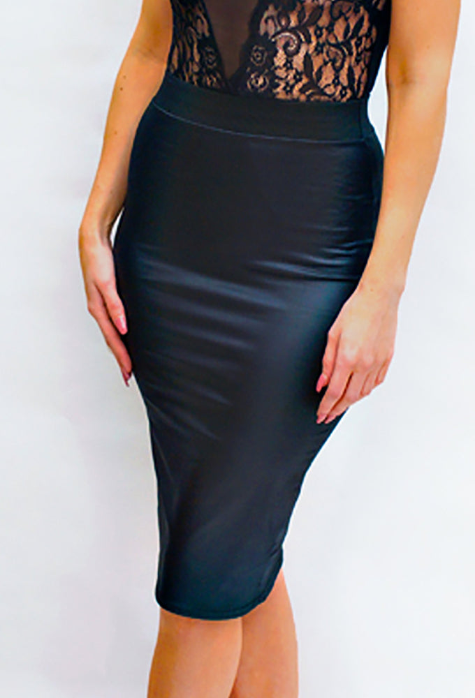 Black Leatherette Midi Pencil Skirt - Violet Fashion