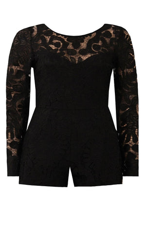 Lara Black Lace Long Sleeve Playsuit - Violet Fashion