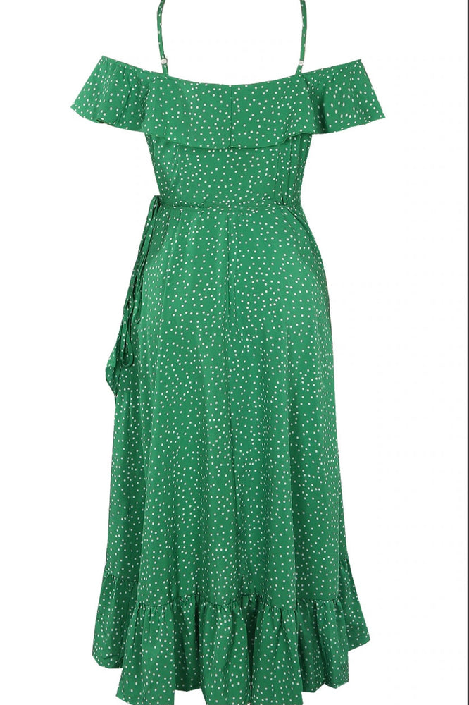 Freya Green Polkadot Wrap Midi Dress - Violet Fashion