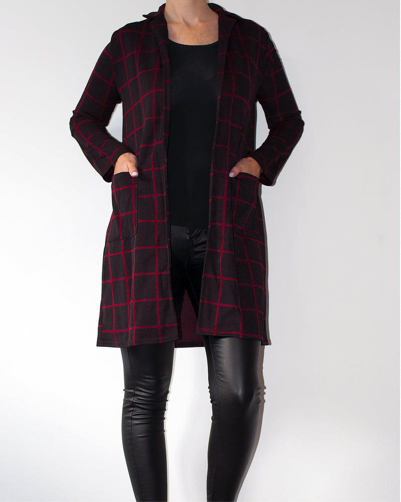 Alexa Long Sleeves Duster Jacket - Violet Fashion