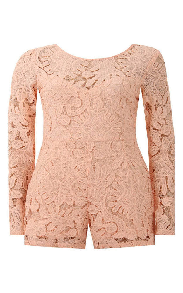 Lara Peach Lace Long Sleeve Playsuit - Violet Fashion
