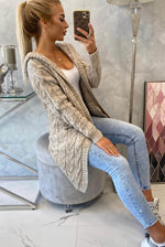 Anais Knitted Cable Knit Cardigan With Hood - Violet Fashion