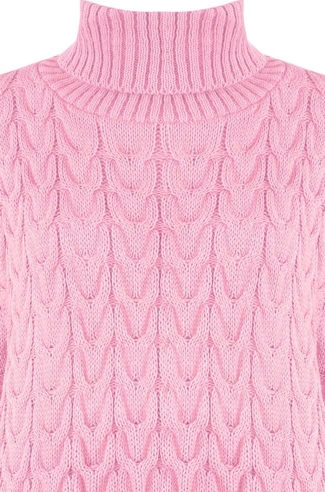 Olivia Cable-Knit Roll Neck Oversized Jumper - Violet Fashion
