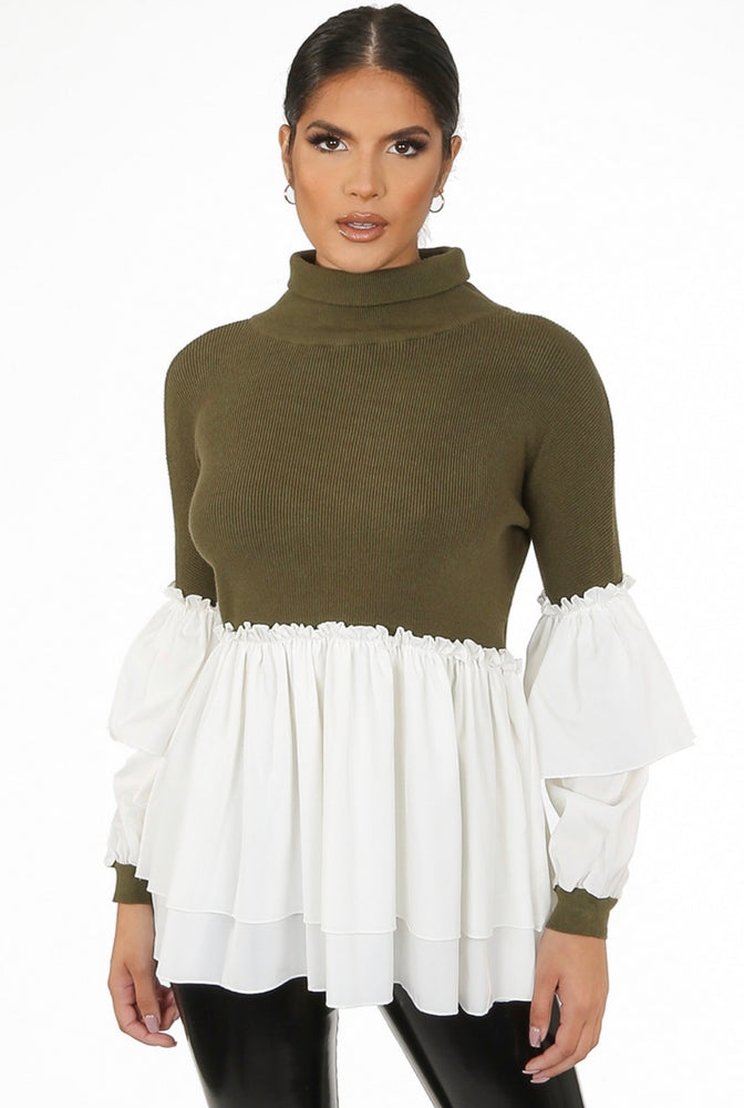 Juliette Ribbed Knitted High Neck Tier Sleeve Jumper With Gatherings - Violet Fashion