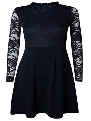 Load image into Gallery viewer, Sinead Navy Floral Lace Long Sleeve High Neck Skater Dress - Violet Fashion