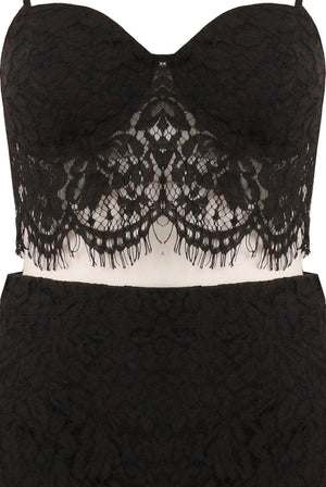 Load image into Gallery viewer, Erin Black Lace Eyelash Bralet - Violet Fashion