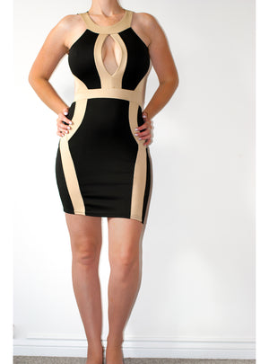 Load image into Gallery viewer, Megan Black Contrast Cut Out Panel Illusion Bodycon Dress - Violet Fashion