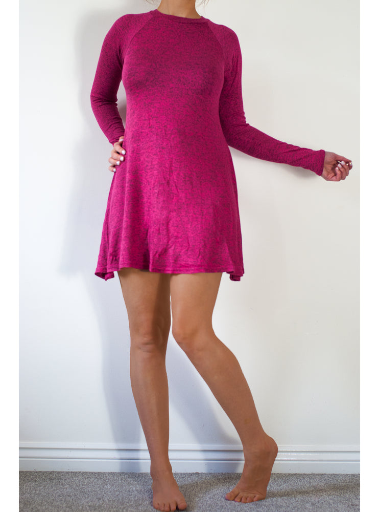 Marnie Pink Long Sleeves Swing Dress - Violet Fashion
