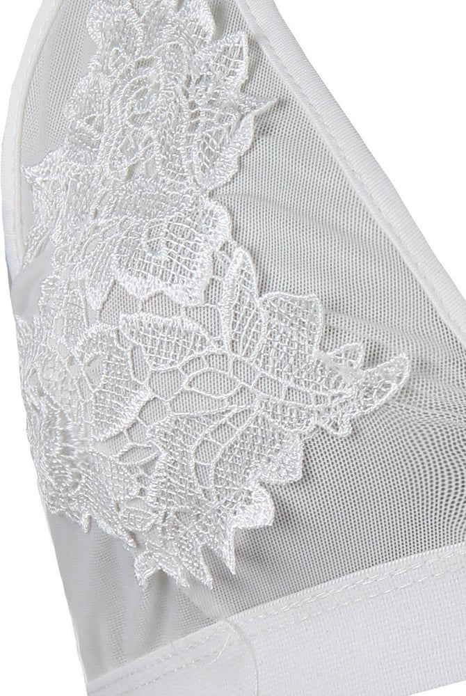 Load image into Gallery viewer, Saria White Floral Lace Bralet - Violet Fashion