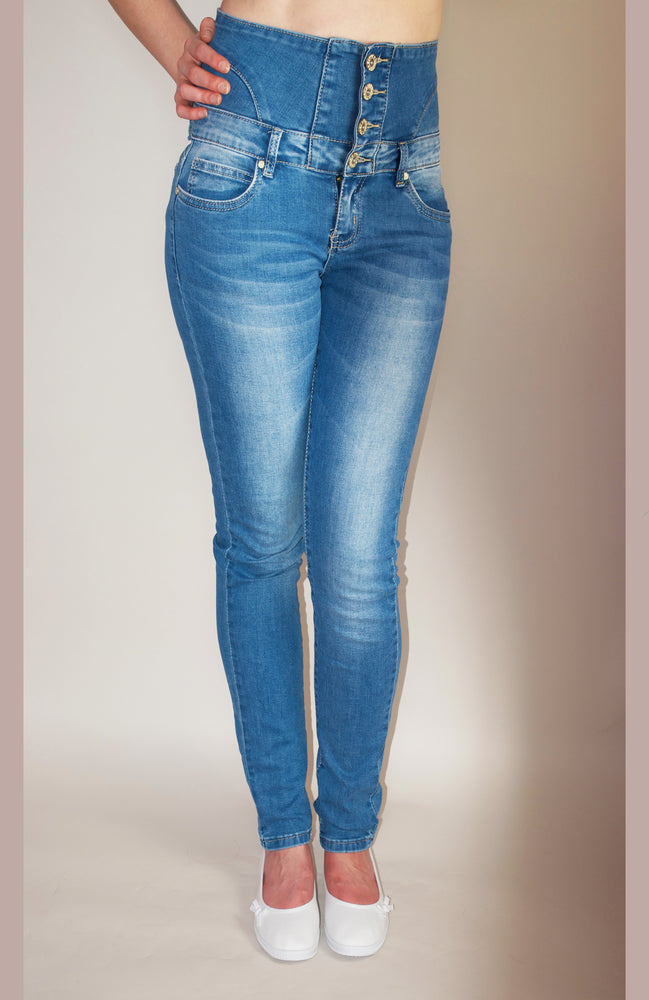 High Waisted Soft Blue Jeans - Violet Fashion
