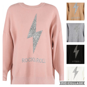 Load image into Gallery viewer, Leanne Soft Knit Diamanté Rock and Roll Jumper - Violet Fashion