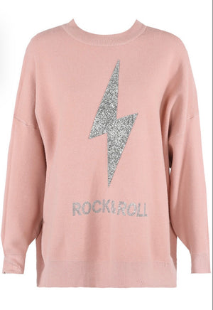 Leanne Soft Knit Diamanté Rock and Roll Jumper - Violet Fashion