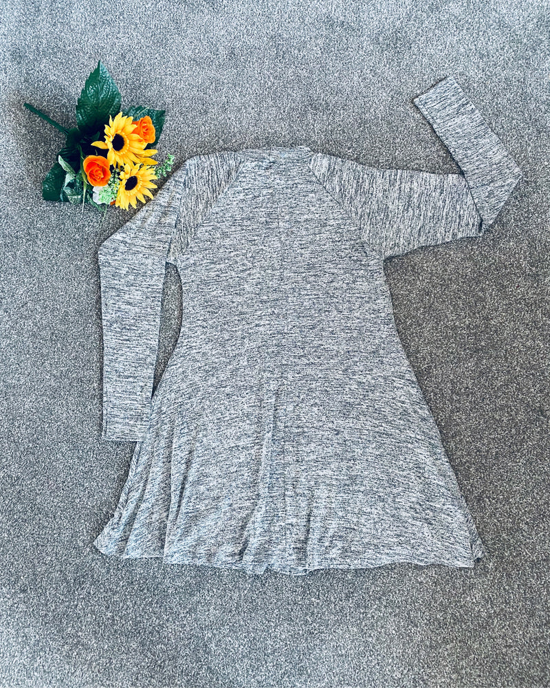 Marnie Soft Grey Long Sleeve Swing Dress - Violet Fashion